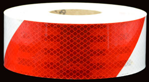 Red and White Striped  Reflective Hazard Tape