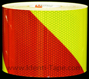 Fluorescent Lime-Yellow and Red Striped Reflective Tape