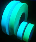 Blue and Green Photoluminescent Glow-in-the-Dark Tapes